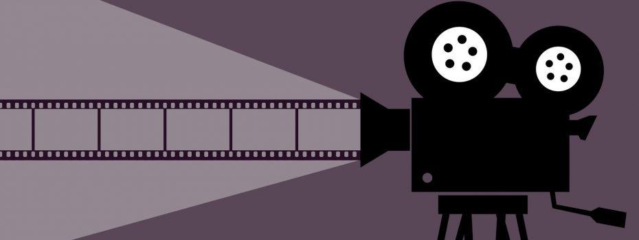 Dessin d'une caméra de cinema sur fond violet