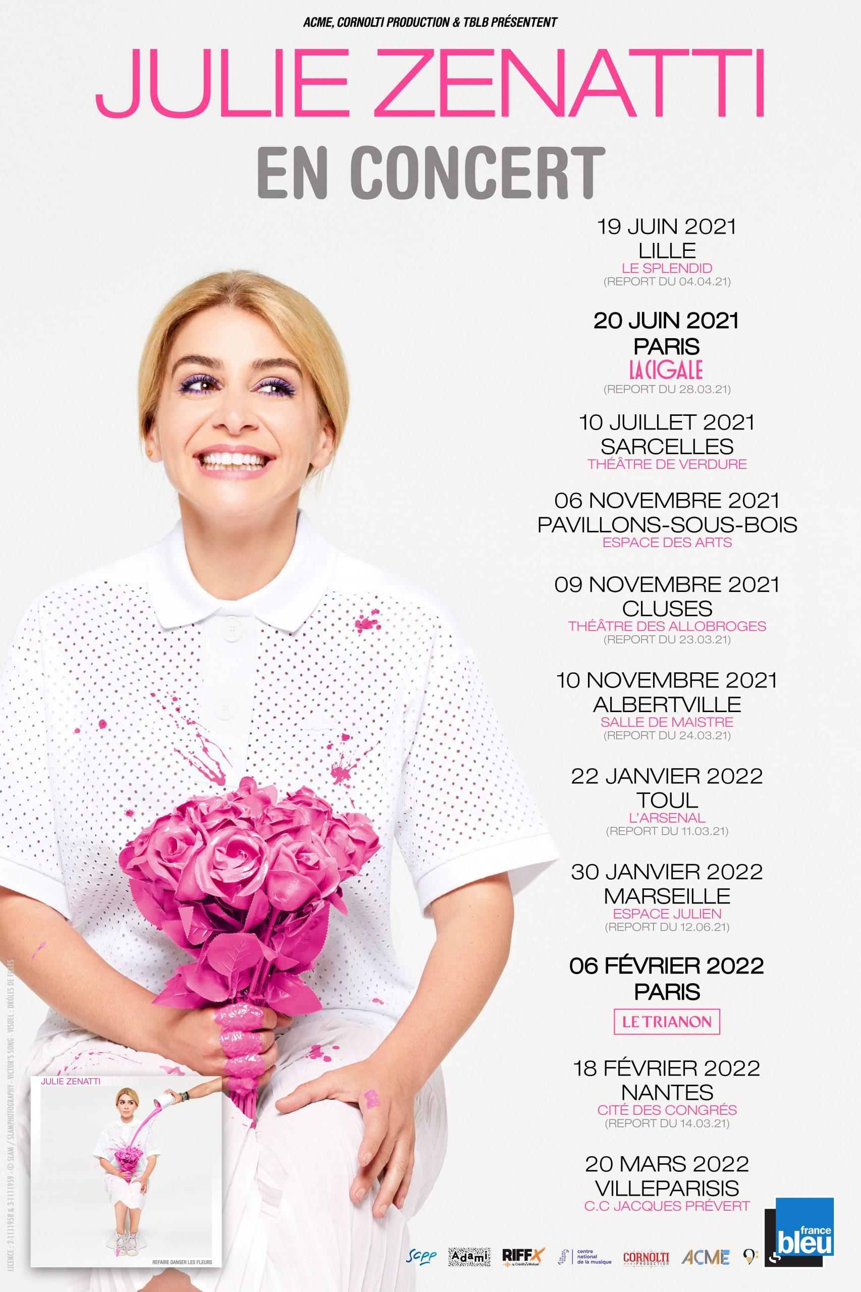 Affiche Julie Zenatti en tournée avec dates